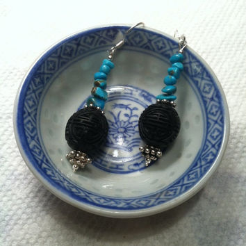 Turquoise Nugget and Black Cinnabar Earrings East Meets West Themed Asian and Southwestern Inspired Style Jewelry Unique Design Gift For Her
