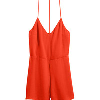 H&M - Satin Jumpsuit - Orange - Ladies