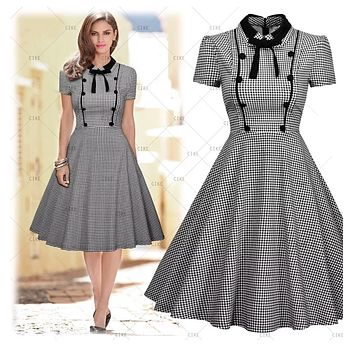 Vintage Inspired Checkered Dress,  US Sizes 4 - 16