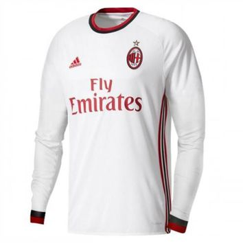 KUYOU AC Milan 2017/18 Away Men Long Sleeve Soccer Jersey Personalized Name and Number
