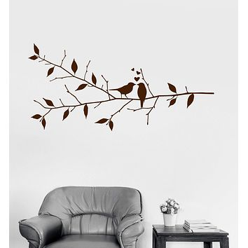 Vinyl Wall Decal Birds Tree Branch Love Romantic Bedroom Decor Stickers Unique Gift (ig3052)