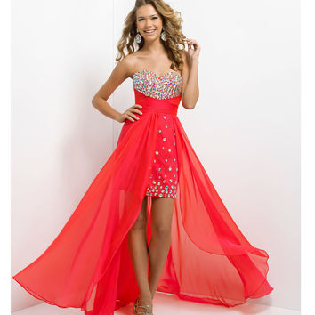(PRE-ORDER) Blush 2014 Prom Dresses - Persimmon Beaded Chiffon High-Low Strapless Sweetheart Prom Dress