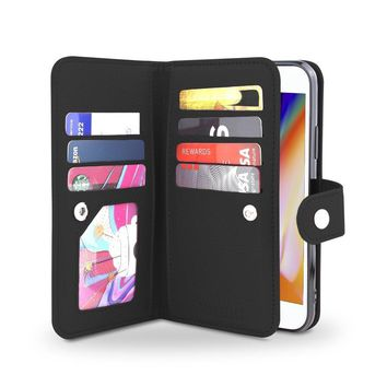 Gear Beast iPhone 8 / 7 Wallet Case, Flip Cover Dual Folio Slim Protective PU Leather Case 7 Slot Card Holder Including ID Holder Plus Cash/Receipt Pockets For Men Women Bonus Screen Protector - Black