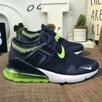 NIKE AIR MAX 270 Fashion Me Casual Air Cushion Sport Running Shoe Sneakers Navy Blue/Fluorescent Green I-A50-XYZ