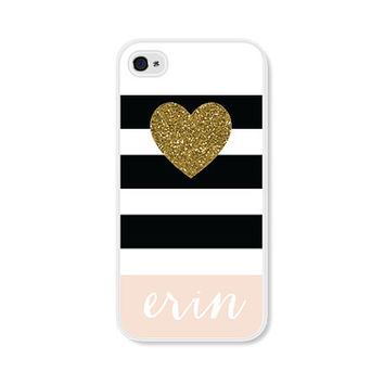 Personalized  iPhone Case Black Pink and Gold iPhone Case Striped - Personalized iPhone 5 Case Personalized iPhone 5c Case Monogrammed Gift