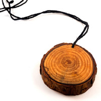Natural Wood Slice Pendant, Natural Pine Wood Slice, Wooden Pendant, Wooden Necklace, Wood Grain Pendant, Wooden Jewelry