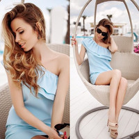 ☆ Light blue Strapless Off Shoulder Ruffle Mini Dress ☆