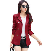 2016 Autumn Spring Women Fashion Slim Coats Plus Size S-XXL Korean Style Pockets Double Breasted Design Slim Lady Trench