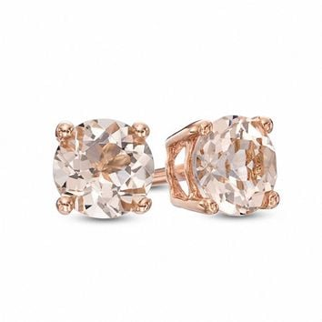 5.0mm Morganite Stud Earrings in 10K Rose Gold|Zales