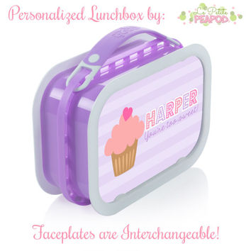 Cupcake Lunchbox - Personalized Lunchbox with Interchangeable Faceplates - Double-Sided Pink and Purple Cupcake Lunchbox