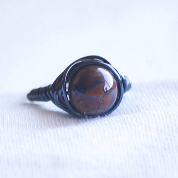 Hematite Wire Wrapped Ring - Jasper Stone - Jasper Wire Wrapped Ring - Boho Ring - Jasper Ring - Hippie Jewelry - Hippie Ring - Stone Ring
