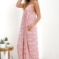 Global Gallivant Ivory and Red Print Maxi Dress