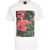 River Island MensWhite New Love Club tropical flower t-shirt