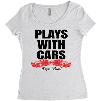 Plays With Cars Women's Triblend Scoop T-shirt