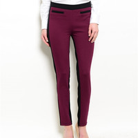 Burgundy Stretch Women's Dress Pants