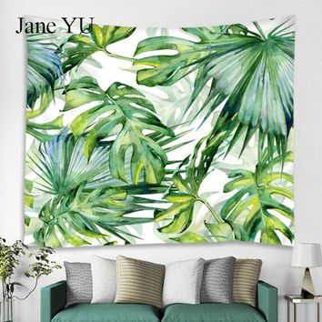 JaneYU European and American forest tropical leaf plant pattern green leaf tapestry wall hanging hanging polyester  tapestry