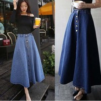 Women's button down long pleated jeans skirt
