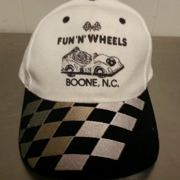 Vintage Racing Go Kart Fun 'N Wheels Boone, NC Dad Hat Strap Back Checkered Flag Brim Retro Style Hipster Style 1980's 1990's