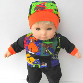 """American Girl Bitty Baby Clothes 15"""" Doll Clothes Boy or Girl 1 Black Pumpkin Kitty Cat Puppy Dog 3pc Shirt pants hat"""