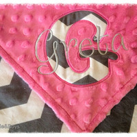 Chevron personalized minky baby blanket lovie pink gray monogrammed