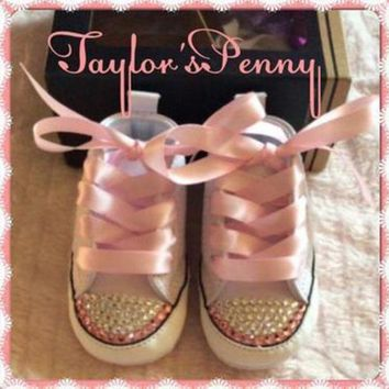 QIYIF baby first star bling converse with pink stones