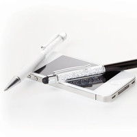 Stylus and Ball Point Pen 2 in 1 Crystal White Pen stylus for iPad. iPhone 5,4 . Samsung. HTC.