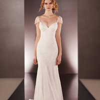 Low-Back Cap Sleeve Beaded Bridal Gown | Martina Liana Wedding Dresses