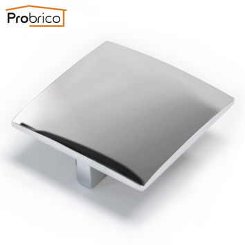 Probrico Morden Furniture Drawer Knob 10 Pack Pd25007Pc Zinc Alloy Polished Chrome Square Kitchen Cabinet Knob Cupboard Pull