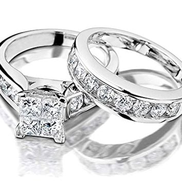 CERTIFIED 1/2 Carat Princess Cut Diamond Engagement Rings Wedding Band Set in 10K White Gold