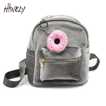 2017 New Women Student Fashion Winter Velvet Backpack Good Quality Patchwork Zipper Casual Small Light Girl School Preppy Style