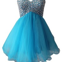 Staychicfashion Blue Short Rhinestone Beaded Top Strapless A Line Prom Dress