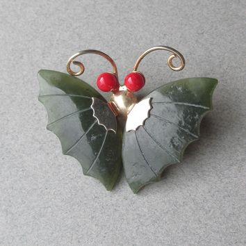 Jade & Red Coral Gold Filled BUTTERFLY Vintage Pin or Pendant