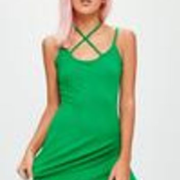 Missguided - Green Strap Neck Swing Dress