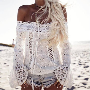 Summer T Shirt Women Lace Sexy Off Shoulder Solid White Strapless Long Sleeve Tops Leisure Loose Fit Casual Lace T shirts