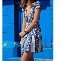 Plus Size Summer Print Dress One Piece Dress [11597197583]