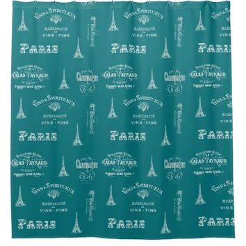 Paris Label French Teal Shower Curtain