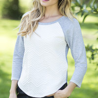 French Terry Quilted Raglan Top