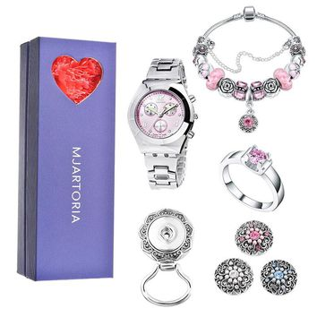 MJARTORIA 2Sets Love Women Jewelry Set For Mon Heart Pink Ring Brooch Watch Bracelet Snap Buttons Box Set For Mother 's Day Gift