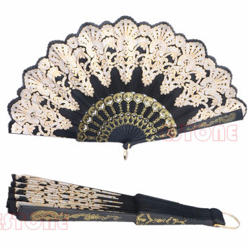 Discount Favors And Gifts Decorations Kids A96 Spanish Style Lace Folding Hand Held Flower Fan For Dance Party