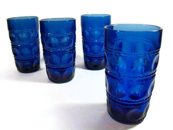 Cobalt Blue Glassware Set Kings Crown From A2ndlife On Etsy