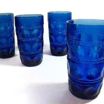 Cobalt Blue Glassware Set Kings Crown Thumbprint Blue Glass Tumblers Drinking Glasses