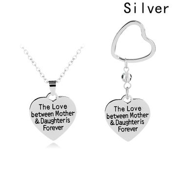 For Women Mother Gift Stainless Steel Silver Heart Shape Necklace Love Between Mother And Daughter Is Forever Pendant Necklace