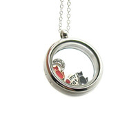 Floating Charm Locket Necklace, Memory Locket, Floating Charm Necklace, Memory Locket Necklace, Animal Necklace, Floating Locket, Cat Lover