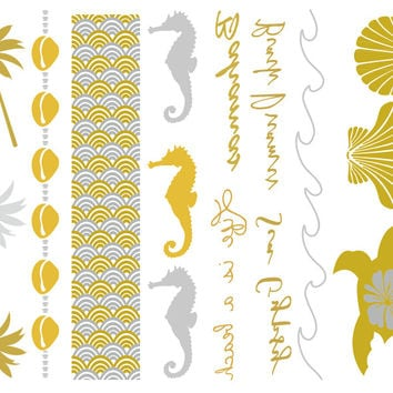 Life's a Beach Temporary Jewelry Tattoos (includes 4 sheets with 4 styles)