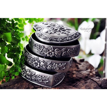 Free shipping pewter plated 3- layers heart shape metal jewellery box, zinc alloy trinket box, fashion gift box