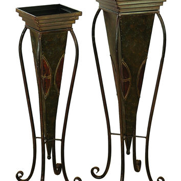 Metal Planter Set Of 2 For In House Nature Enthusiasts