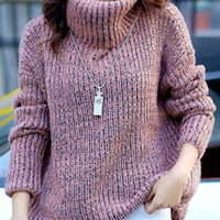 Turtleneck Long Sleeve Oversized Knitted Sweater