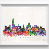 Albany Skyline Watercolor Print