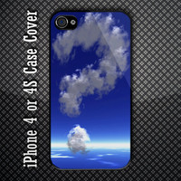 Unique Cloud Question Mark at Blue Sky Custom iPhone 4 or 4S Case Cover