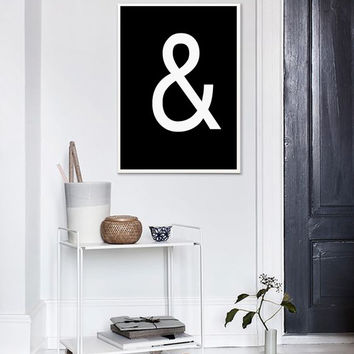 Modern Ampersand Print, Typographic Wall Art, Printable Poster, Black & White Print, Graphic Wall Decor, Ampersand Poster